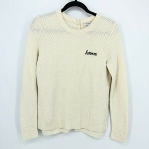 Madewell Embroidered Hmmm Button-back Sweater